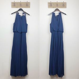 Bisou Bisou Navy Blue Gold Chain Maxi Dress
